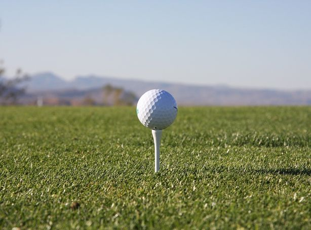 A golf ball sits on a white tee overlooking the course at Falcon Crest Golf Club