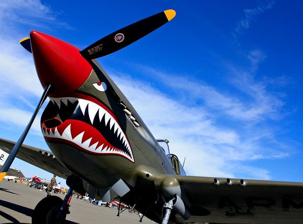 A Curtiss P-40 fighter aircraft of the Flying Tigers on display during an air show.